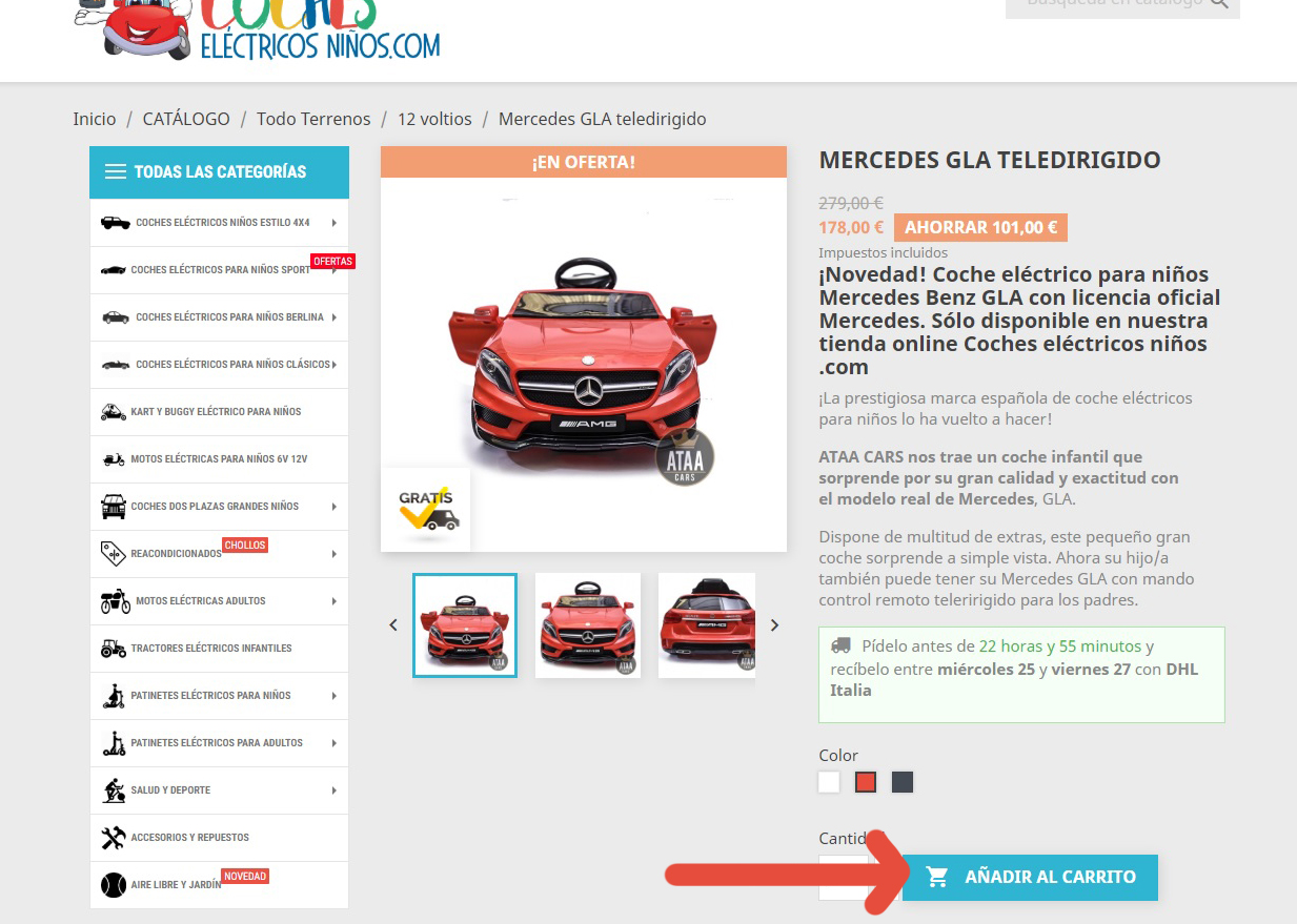 comprar coches electricos para niños con mando control remoto bateria 12v
