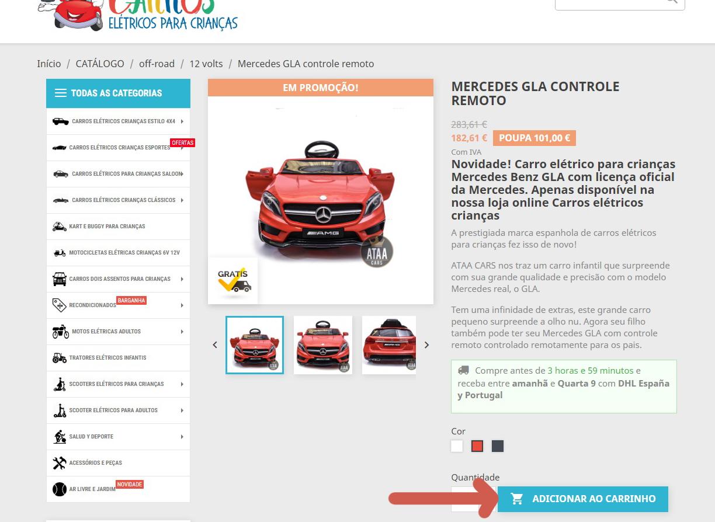 comprar carros elétricos para crianças com bateria de controle remoto 12v